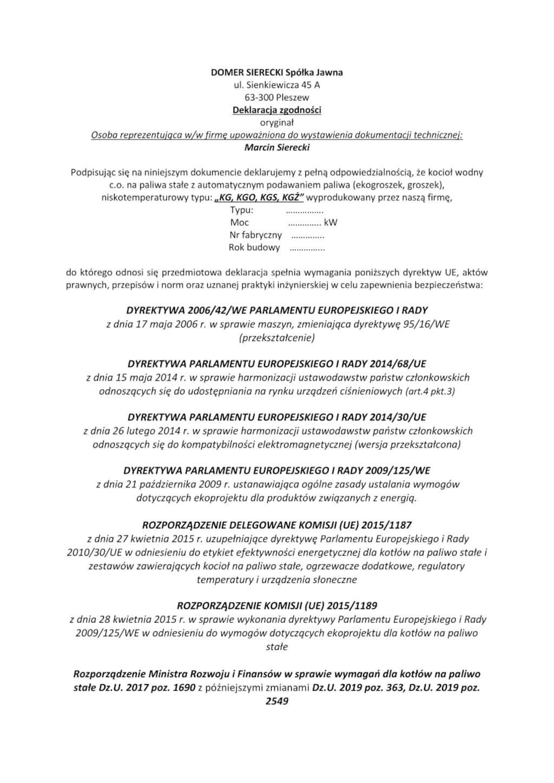 Deklaracja zgodności z KG, KGO, KGŻ, KGS - strona -1